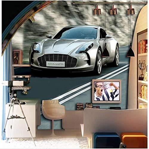 BXZGDJY zelfklevend behang 3D-papier 3D Mural kind auto straat jongen behang 3D kamer fotobehang kinderen jongen slaapkamer kleuterschool achtergrond muur Art Deco behang (W)500x(H)375cm|10Stripes