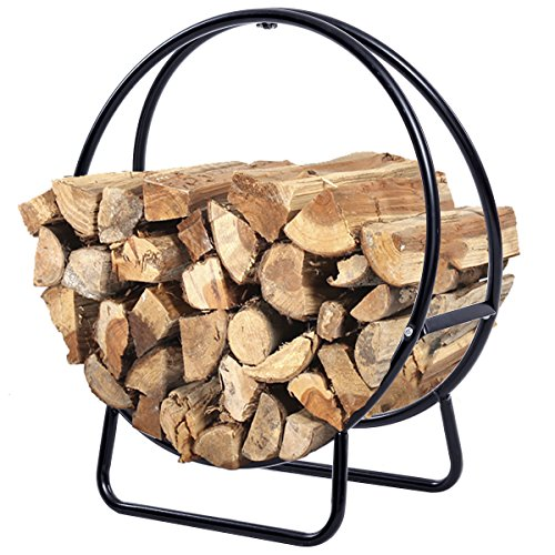 Fantastic Deal! Alek...Shop 2 Feet Tubular Rack Storage Holder Log Wood Firewood Outdoor Steel Heavy...