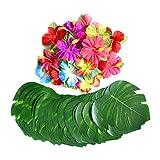 SODIAL 60ピーストロピカルパーティデコレーション用品 8インチ熱帯性パームモンステラ葉とハイビスカスの花、人造の葉ハワイ式宴会パーティージャングルビーチテーマテーブルの装飾