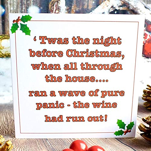 Pack of 4 Funny Christmas Cards - Xmas Wine Drinking...