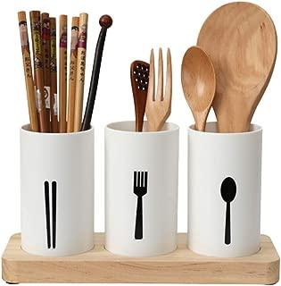 MyLifeUNIT Kitchen Utensil Caddy, Flatware Organizer with Wood Base