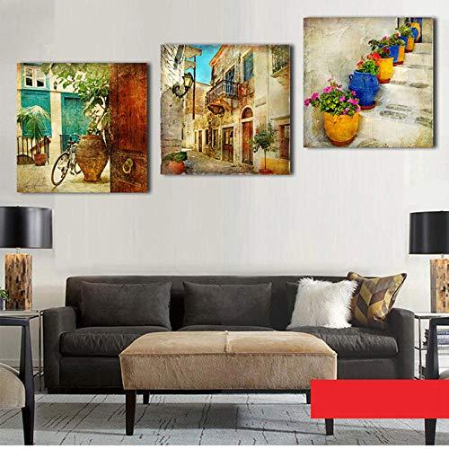 Wenjing Modulaire afbeelding gedrukt kunst moderne posters 3 stuks retro stad en bloempot canvas schilderij wand 30x30 cm x 3 stuks geen lijst