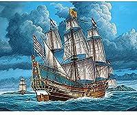 5D DIYダイヤモンド塗装キット、フルダイヤモンドラウンドラインストーン刺繍、家の壁の装飾に使用(白い帆船)30x40cm