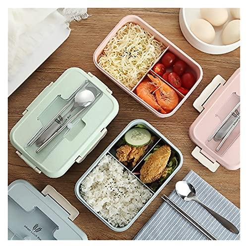 Caja de Almuerzo Bento Box Estudiante envase de alimento de la Paja del Trigo Material a Prueba de Fugas Almuerzo Caja Cuadrada con el Compartimiento Envase (Color : Plastic-A)