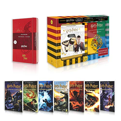 Harry Potter La Saga Completa Libri 1-7 + DVD 1-8 + Trivial Pursuit+ Moleskine Harry Potter 13x21 Rosso Geranio