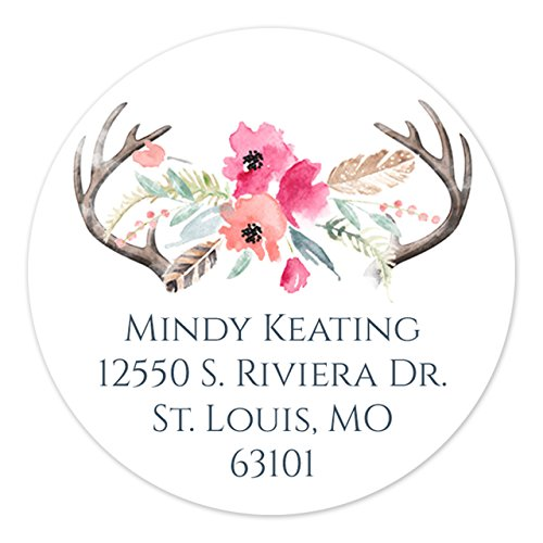 """Floral Antler Self-Adhesive 2"""" Round Address Labels/Boho Chic Personalized Circle Labels/Minimum Quantity 120 Stickers"""