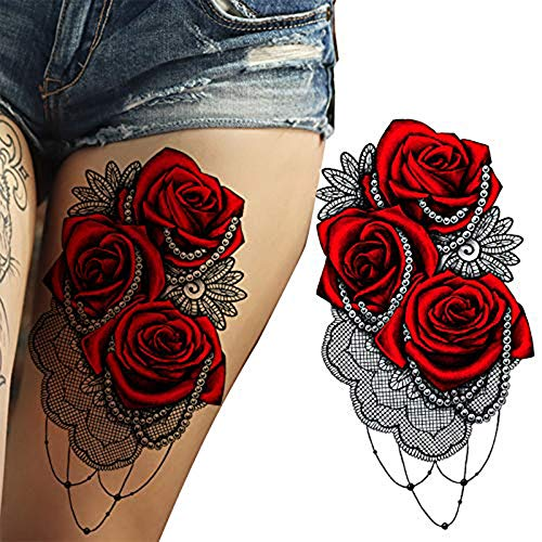 4 x Sheets red rose flowers temporary tattoos fake for women adult kids arm legs stick on realistic flora pearls black lace body art temp tattoos halloween cosplay