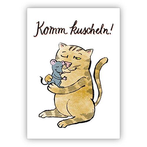 Liefdeskaart met kat en muis ook voor Valentijnsdag: Komm knuffelen! • 1a wenskaart met envelop voor 1001 gelegenheid 16 Grußkarten