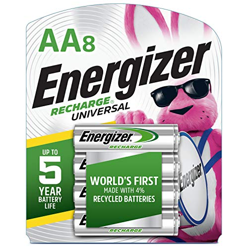 Energizer Rechargeable AA Batteries, 2,000 mAh NiMH, Pre-charged, Chargeable for 1,000 Cycles, 8 Count (Recharge Universal)