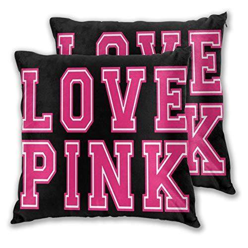 JIETONG St Victoria Secret Love Pink Pillow Case Decorative Square Throw Pillow Covers 2 Pack