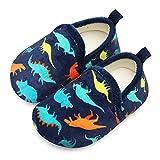 Lisdwde Toddler Boys Girls Rubber Sole Indoor House Slippers Lightweight Socks Shoes Navy Dinosaur 8.5-9 Toddler=EU26-27