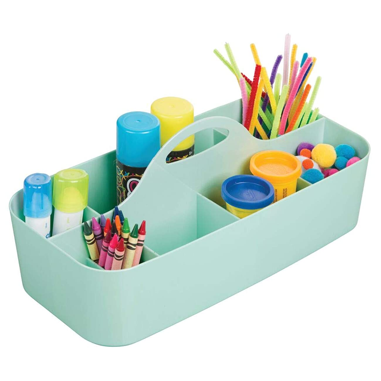 mDesign Plastic Portable Craft Storage Organizer Caddy Tote, Divided Basket Bin with Handle for Craft, Sewing, Art Supplies - Holds Paint Brushes, Colored Pencils, Stickers, Glue, X-Large - Mint Green