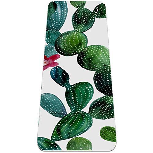 Alfombra de yoga extra gruesa con patrón de cactus tropical, respetuosa con el medio ambiente, antideslizante, para todo tipo de yoga, pilates y ejercicios de piso, 72 x 24 pulgadas