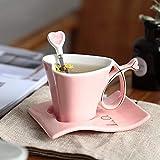 Tazza in Ceramica Europea Tazza da caffè Tazza Creativa A Forma di Cuore Coppia Tazze Tazza da tè Piattino Cucchiaio Set Matrimonio Tazze da Regalo di qualità in Porcellana-A_101-200Ml
