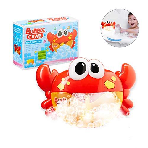 Relaxdays 10027901 Badewannenspielzeug Krabbe, mit Musik, Kinder Badespielzeug Schaum, Seifenblasen, ab 3 Jahre, Kunststoff, rot