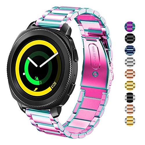 DEALELE Kompatibel Gear Sport Uhrenarmband 20mm Solider Edelstahl Metall Ersatz für Armbands, Falls zutreffend Samsung Gear Sport / S2 Classic/Galaxy Watch Active / 42mm Damen Herren (Regenbogen)