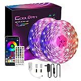 Tiras LED 10m, COOLAPA Tira Luces LED 5050 SMD RGB con Control App, 300 ledes 12 V para casa Modo Música para Habitación,Techo, Hogar, Cocina, Navidad,2 rollos 5m