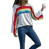Viahwyt Blusa Casual Suelta con Cuello en O con Estampado de Rayas arcoíris para Mujer Blanco Blanco M