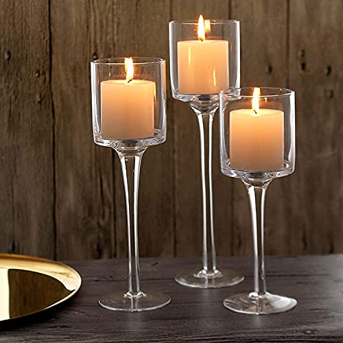 Glass Candleholders Tea Light Candle Holders Clear Wedding Weddings Hurricane Tall Elegant Ideal For Dining Party Home Decor Parties Table Settings Gifts Tealight Gifts Sets of Different Sizes (small)