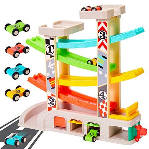 TOP BRIGHT Kugelbahn Autorennbahn Spielzeug mit 4 Autos Holz Kinder Jungen