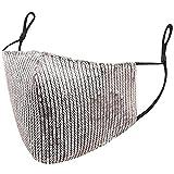 Criquet Mascarilla de Lentejuelas Plateada, Hidrófuga y Reutilizable, Protección Mediante 2 Capas, Incluye Filtro TNT Homologado y Transpirable, Mascarilla Ajustable y de Algodón