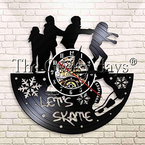 Jiedoud Skateboard Boy Vinyl Schallplatte Wanduhr Eiskunstlauf Boy Extremsport Hochhaus Hochhaus Home Decoration Moderne Wanduhr   No Led