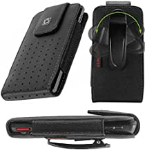 Vertical Slide in Leather Case with Strap Closure and Fixed Swivel Clip Black for Silent Circle Blackphone 2