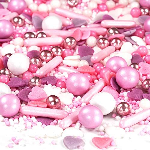 Streusel Dornröschen rosa weiss 90g   STREUSEL GLÜCK   bunte Sprinkles eignen sich perfekt zur Tortendeko und Plätzchen Deko für Weihnachten Kindergeburtstag Geburtstag Taufe Hochzeit