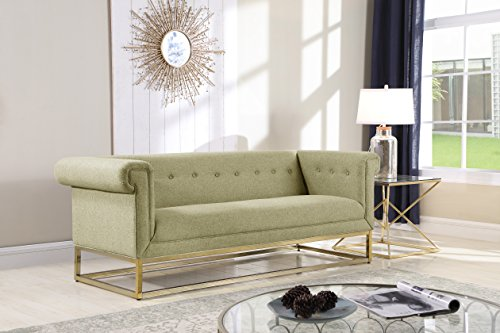 Iconic Home Palmira Sofa Button Tufted Linen-Textured Plush Cushion Brass Finished Brushed Metal Base Frame, Modern Transitional, Beige
