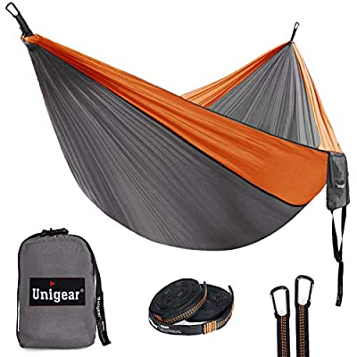 Unigear Camping Hammock Double and Single, Portable Lightweight Parachute Nylon Hammock with Tree Straps for Backpacking, Camping, Travel, Beach, Garden