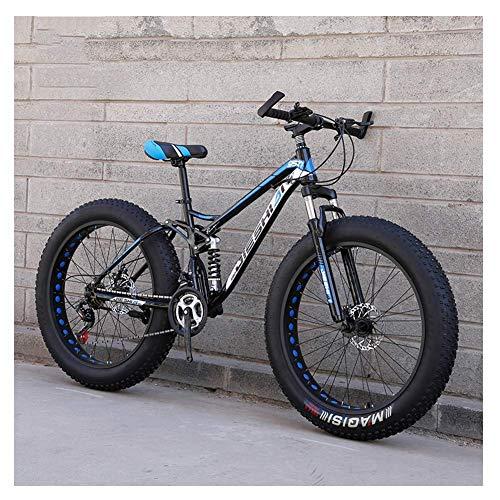 Vélos de montagne pour adultes, vélo de montagne semi-rigide à double frein à disque Fat Fat, vélo à grandes roues, cadre en acier à haute teneur en carbone, nouveau bleu, 26 pouces 27 vitesses