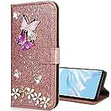 Nadoli Leder Hülle für Galaxy A6 Plus 2018,Luxus Bling Glitzer Diamant 3D Handyhülle im Brieftasche-Stil Schmetterling Blumen Flip Schutzhülle Etui für Samsung Galaxy A6 Plus 2018,Rose Gold -