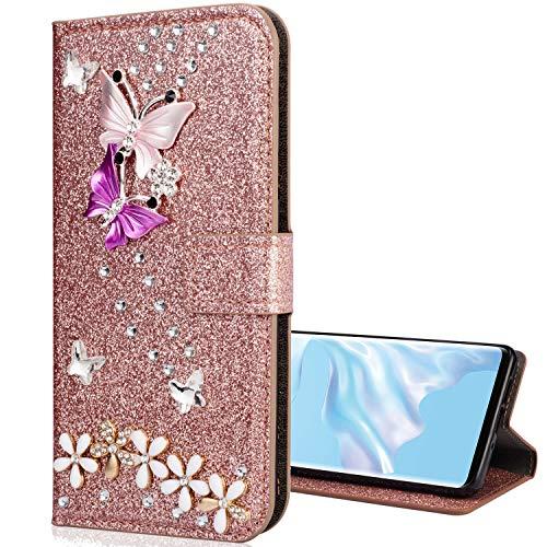 Nadoli Leder Hülle für Galaxy A7 2018,Luxus Bling Glitzer Diamant 3D Handyhülle im Brieftasche-Stil Schmetterling Blumen Flip Schutzhülle Etui für Samsung Galaxy A7 2018,Rose Gold