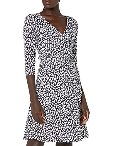 Lark & Ro Women's Three Quarter Sleeve Faux Wrap Fit and Flare Dress, Navy White Tulip Print, Medium