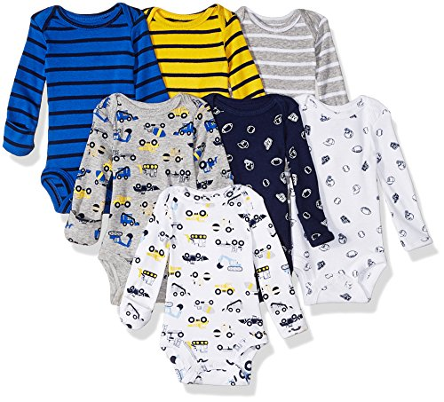 Carter's Baby 7 Pack Long Sleeve Bodysuits, construction/sports, 3 Months