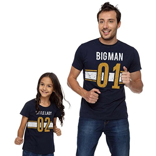 Bon Organik Bigman Little Lady Dad TeeBest Family Matching Dad and Daughter Tshirts Cotton T-Shirt Set for Father and Daughter(Pack of 2) ((BON1714-SP-NB-MG21 Dad L -Daughter 12-24M) Blue