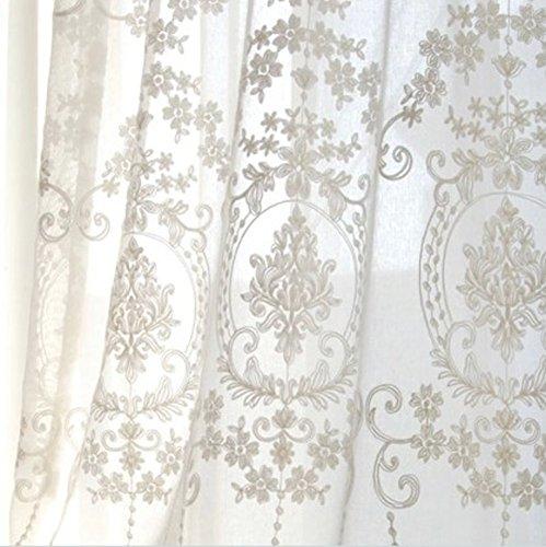 Europea Tenda del ricamo, Bianca Pizzo Tenda in tulle Per Soggiorno Camera da letto Balcone Bovindo Decorazioni per finestre-bianca 200x270cm(79x106inch)