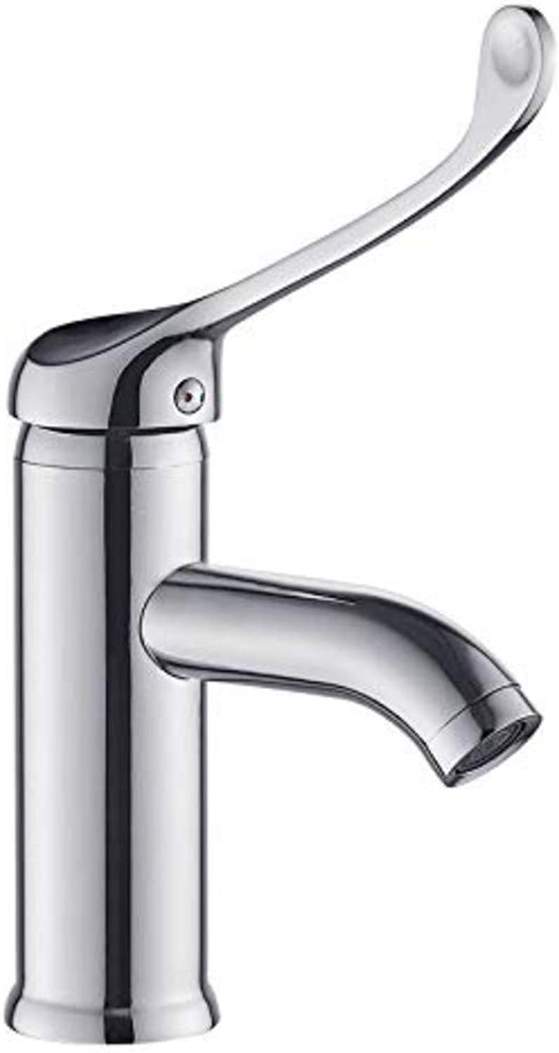 Chrome-Plated Brass Bathroom Copper Hot and Cold Faucet Heightened Long Handle Wash Basin Faucet