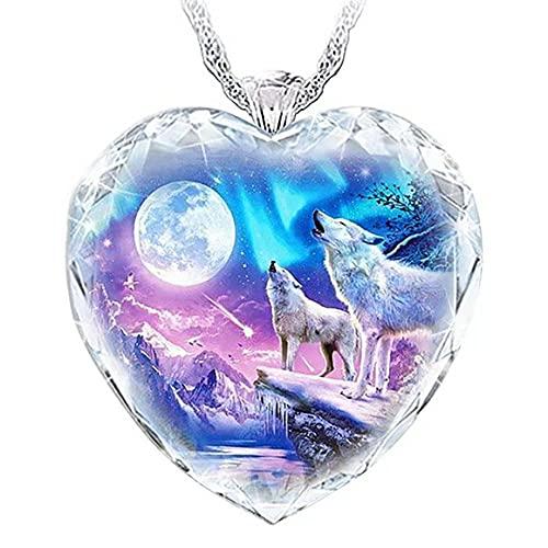 Persdico Para 925 collar de gemas brillantes de cristal de plata pura, colgante de lobo, joyería elegante, collar de corazón de luna de lobo de nieve, regalo de aniversario