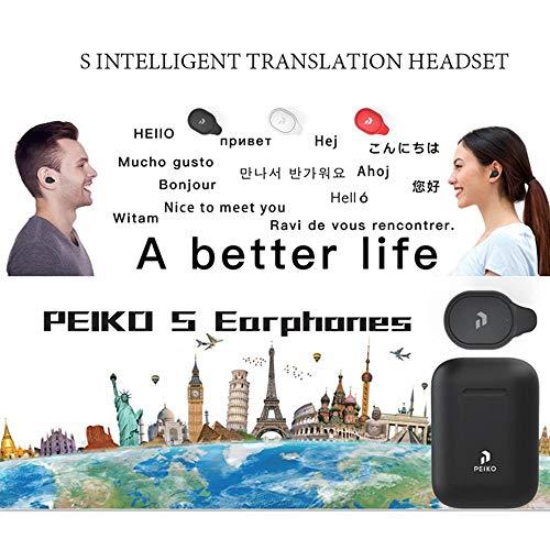Volwco Sprach-Übersetzer, kabellos, BT5.0, Echtzeit-Übersetzer, Kopfhörer mit Ladebox, unterstützt 33 Sprachen für Reisen/Shopping/Geschäftstreffen