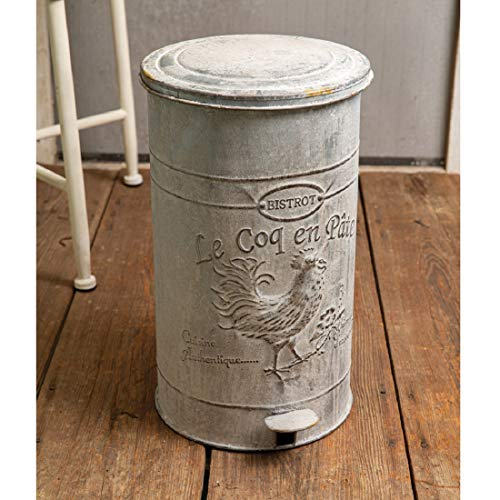 CTW Home Collection Rooster Trash Bin Kitchen Supplies, 11-inch W x 12-inch D x 17.5-inch H, White
