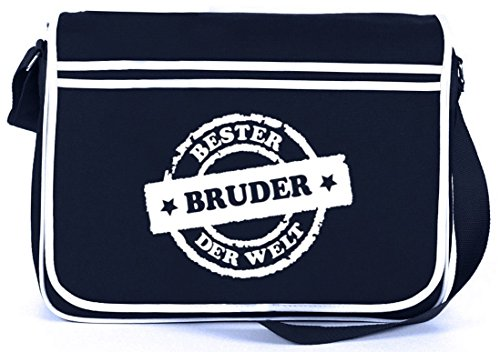 Bester Bruder der Welt Stempel, Retro Messenger Bag Kuriertasche Umhängetasche, Größe: onesize,Navy