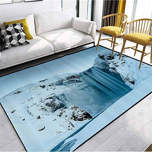Waterfall Decor Polyester Fade Resistant Rug Perfect for Dining Rooms, Kitchens and More Frozen Waterfall Heavenly Landscape View with Mountains Covered with Snow Photo Petrol Blue 4 x 3 ft