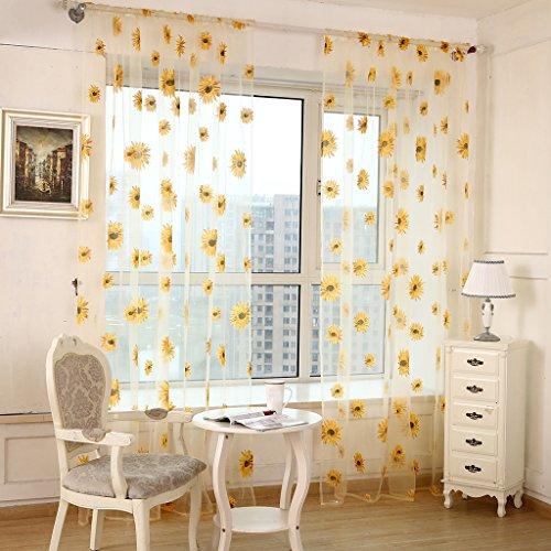 SIMPVALE 2 Paneles Cortinas Visillos con Diseño de Crisantemos de la Decoración de Salón Dormitorio, Anchura 100cm, poliéster, Amarillo, Altura 270cm