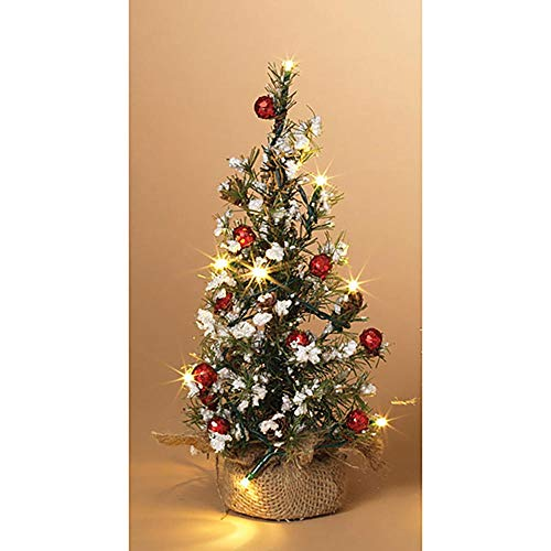 Anderson's Lighted Mini Christmas Tree with Berries and Burlap, 12 Inches, Holiday Decor