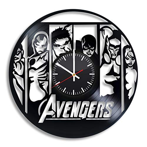 The Avengers Marvel Wall Art Vinyl Record Clock 12'' Best Original Present Gift for Him Her Adults Kids Room Home Kitchen Decor Handmade Accessory Decoration Party Supplies Theme Vintage Stuff