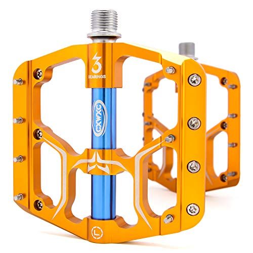 """CXWXC Bike Pedal, 3 Sealed Bearings 9/16"""" Aluminum Alloy Bicycle Pedals with Removable Antiskid Nails for MTB, Road Bike (Gold)"""