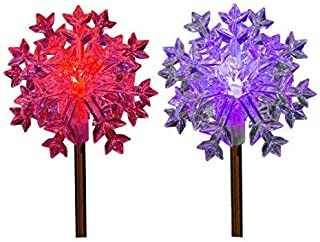 Snowflake Solar Garden Stake Light LED Color-Changing, Set of 2