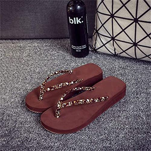 YWYW Chanclas Zapatos de Verano para Mujer Zapatos con Punta Abierta con Plataforma de cuña Zapatillas de pellizco Sandalias de Moda para Mujer para Adultos