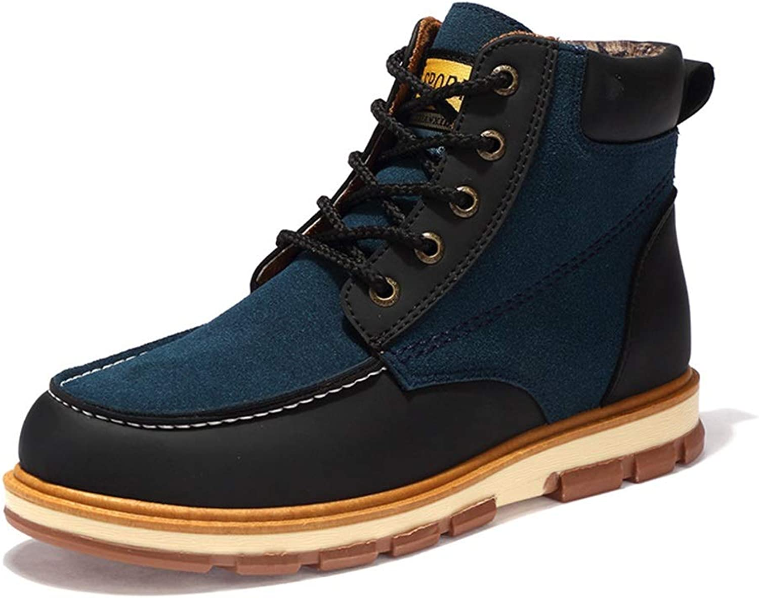 ZHRUI Mens Lace up Ankle Boots Casual Fashion Winter Non Slip Soft Sole Boots (color   bluee, Size   UK 7)